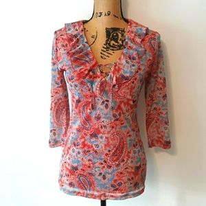 Chaps Red and Blue Floral Tie Ruffled Blouse Top M